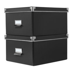 Jon Karlsson - KASSETT Box with lid for paper - Box with lid for paper, black