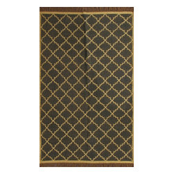 Rugsville - RugsvilleTrellis Black Jute & Wool Kilims 13648 5x8 Rug - Rugsville Trellis Kilims highly-prized by both designers and collectors. Looking to add visual interest to your room? Vintage kilims are the just ticket. Place them on your floor, hang them a wall, or use one as a tablecloth! Their only limit is your imagination!