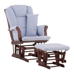 Stork Craft - Stork Craft Tuscany Glider and Ottoman with Free Lumbar Pillow in Cherry with Bl - Stork Craft - Rocking Chairs Rockers - 06554534 - Available in 6 wood finishes and 4 fabric combinations to create your own custom Tuscany Glider and Ottoman. The Stork Craft Tuscany Glider and Ottoman set offers gentle motion while feeding your baby in those early morning hours. Featuring a solid construction with a magical sleigh design this is a royal centerpiece for your nursery. The enclosed metal ball-bearings allow for an incredibly smooth motion to glide your baby back to sleep. Micro fiber spot-cleanable cushions ease the worry about spills while the construction offers an exquisite finish you'll appreciate far beyond the baby years. The Tuscany Glider comes with a matching soft plush lumbar support pillow for supporting your baby during feeding times.