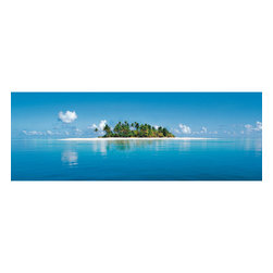 Maldive Island Wall Mural - This panoramic Maldives island mural captures the alluring beauty of the tropics.