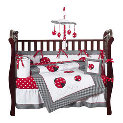 Sweet Jojo Designs - Little Ladybug 9 Piece Crib Bedding Set - The Little Ladybug Crib Bedding Set is just one of the neutral crib bedding sets we offer from Sweet Jojo Designs. The 9-Piece baby bedding set includes a crib blanket, fitted crib sheet, crib bumper pads, crib skirt (dust ruffle), diaper stacker, toy bag, decorative pillow, and two window valances.