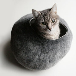 Warm Gray Stone Hand Felted Wool Cat Bed/Vessel by Vaiva Nat - No reason kitty can't be contemporary too. This felt cat bed/vessel by Vaiva Nat is the first I've ever seen that I'd actually want to display prominently.