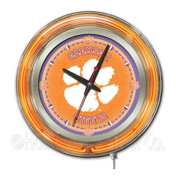 Holland Bar Stool - Holland Bar Stool Clk15Clmson Clemson Neon Clock - Clk15Clmson Clemson Neon Clock belongs to College Collection by Holland Bar Stool Our neon-accented Logo Clocks are the perfect way to show your school pride. Chrome casing and a team specific neon ring accent a custom printed clock face, lit up by an brilliant white, inner neon ring. Neon ring is easily turned on and off with a pull chain on the bottom of the clock, saving you the hassle of plugging it in and unplugging it. Accurate quartz movement is powered by a single, AA battery (not included). Whether purchasing as a gift for a recent grad, sports superfan, or for yourself, you can take satisfaction knowing you're buying a clock that is proudly made by the Holland Bar Stool Company, Holland, MI. Clock (1)
