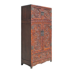 "Golden Lotus - Huge Chinese Antique African Rose Wood Ru-Yi Foo Dog Carving Stack Cabinet - Look at this gorgeous tall stack cabinet which is made of african rose wood.  The cabinet is composed of two pieces stack together, and especially its outside comes with very detail Foo Dog an Chinese Ru-Yicarving on it.  Its carving is different with regular carving, it is called ""Floating Sculpture"", you can see those Foo Dog Ru-Yi carving has ""3D sight"".  It will be fantastic to put at your living room or hotel lobby."