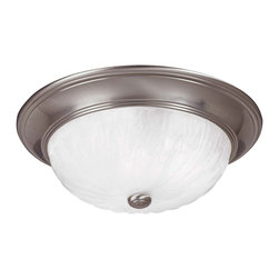 Savoy House - Savoy House Flush Mount Flush Mount Ceiling Fixture in Satin Nickel - Shown in picture: Suitable for a variety of spaces in Satin Nickel Finish with Ribbed Marble Glass.