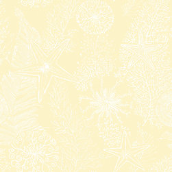 York - Ac6019 Coral Reef Beach Wallpaper - AC6019 Coral Reef from By the Sea by Ashford House is a cream wallpaper with a slightly raised texture of starfish, coral and water plants.