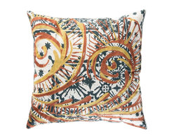 """Koko Company - Mikros Pillow, Yellow, Blue, and Red, 18"""" x 18"""" - Inspired by minute organisms in mineral colors."""