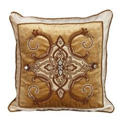 Jay Strongwater - Jay Strongwater Multi Arabesque Pillow - Add luxury and color to home decor with this elegant golden pillow.