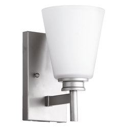 Quorum Lighting - Quorum Lighting Friedman Modern / Contemporary Wall Sconce X-46-1-2055 - Modern, minimalist styling is paired with subtle traditional beveling that creates a delightful design on this Quorum Lighting wall sconce. From the Friedman Collection, the modern details are accentuated by a satin opal glass shade whose clean lines are complimented by Classic Nickel finishing.