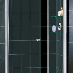 DreamLine - DreamLine SHDR-4142728-01 Elegance 42 1/2 to 44 1/2in Frameless Pivot Shower Doo - The Elegance pivot shower door combines a modern frameless glass design with premium 3/8 in. thick tempered glass for a high end look at an excellent value. The collection is extremely versatile, with options to fit a wide range of width openings from 25-1/4 in. up to 61-3/4 in.; Smart wall profiles make for an easy and adjustable installation for a perfect fit. 42 1/2 - 44 1/2 in. W x 72 in. H ,  3/8 (10 mm) thick clear tempered glass,  Chrome or Brushed Nickel hardware finish,  Frameless glass design,  Width installation adjustability: 42 1/2 - 44 1/2,  Out-of-plumb installation adjustability: Up to 1 in. per side,  Frameless glass pivot shower door design,  Elegant pivot mechanism and anodized aluminum wall profiles,  Stationary glass panel with two glass shelves,  Door opening: 26 in.,  Stationary panel: 12 in.