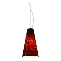 Besa Lighting - Besa Lighting 1KX-412441 Cierro 1 Light Cable-Hung Pendant - Cierro is a softly tapered narrow cylinder, creating a refined contemporary look. Our Garnet glass is full of floating, vibrant red tones with a mix of black and white tones behind them. When the glass is lit the fiery color palette illuminates to exude a harmonious display. This decor is created by rolling molten glass in small bits of deep red hues called frit along with black glass powders. The result is a multi-layered blown glass, where frit color is nestled between an opal inner layer and a clear glossy outer layer. This blown glass is handcrafted by a skilled artisan, utilizing century-old techniques passed down from generation to generation. Each piece of this decor has its own artistic nature that can be individually appreciated. The cable pendant fixture is equipped with a 10' silver aircraft cable and AWM cordset, and a dome monopoint canopy.Features: