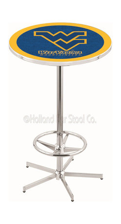 Holland Bar Stool - Holland Bar Stool L216 - 42 Inch Chrome West Virginia Pub Table - L216 - 42 Inch Chrome West Virginia Pub Table  belongs to College Collection by Holland Bar Stool Made for the ultimate sports fan, impress your buddies with this knockout from Holland Bar Stool. This L216 West Virginia table with retro inspried base provides a quality piece to for your Man Cave. You can't find a higher quality logo table on the market. The plating grade steel used to build the frame ensures it will withstand the abuse of the rowdiest of friends for years to come. The structure is triple chrome plated to ensure a rich, sleek, long lasting finish. If you're finishing your bar or game room, do it right with a table from Holland Bar Stool.  Pub Table (1)