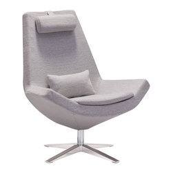 Bruges Occasional Chair, Light Gray - Polyblend & Brushed Stainless Steel.
