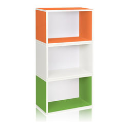 Way Basics - Stackable Hillcrest Modular Storage, Green/Orange/White - The Hillcrest Modular Organizer is the perfect combination of three of our Rectangle cubes. Its simplistic three shelf design ensures you have maximum organizational space, while maintaining a classic look that will complement and adorn any room in your home or office.