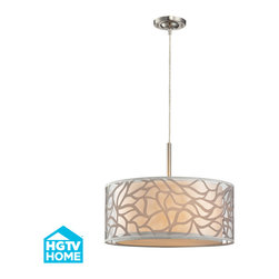 Elk Lighting - Elk Lighting Autumn Breeze Collection 3 Light Pendant In Brushed Nickel - 53001/ - 3 Light Pendant In Brushed Nickel - 53001/3 in the Autumn Breeze collection by Elk Lighting This series captures the essence of nature with warm, earth-tone colors and a fresh design concept.  An abstract pattern, reminiscant of blowing leaves in the wind, is placed on clear material to give a light, airy feel while an inner beige fabric drum provides the backdrop for depth and a soft diffusion of light.  Pendant (1)