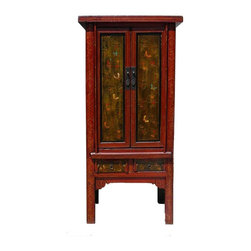 Golden Lotus - Vintage Chinese Cabinet w Color Butterflies Graphic - This is an old cabinet with restored graphic. It has nice slim minor A shape design. The body is mainly orange red color. The doors are in rustic black yellow base color. It is a decorative storage cabinet for the living room or office.