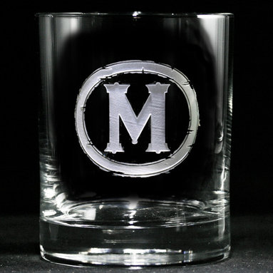 Monogrammed Whiskey, Scotch, Bourbon Glasses - Personalized custom whiskey, scotch and bourbon glasses are the perfect gift for bridal shower, engagement, wedding, birthday and for the man or woman who has everything. Real estate agents and interior designers often give our personalized barware to special clients as housewarming or thank you gifts. Not engraved, but deeply sand carved, each of our glasses is hand crafted. The background is carved away, leaving the monogram and design raised from the glass in a 3D manner. Simply exquisite. Crystal Imagery