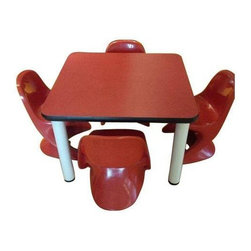Used Casalina Children's Table & Chairs - Set - While most of our offerings translate from office to home, this is a rare find for us indeed. Mfr'd by Casalina, this cute set of four molded chairs and a table harkens back to the early 70's. The chairs nest neatly together, and the table is solid enough for any eager climbers.