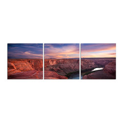 Elementem - Down The Ground Canyon Print - This frameless triptych photograph of the Grand Canyon  is printed on vinyl and mounted on a wooden MDF frame.   We laminate over each of our photos to allow them to be easily cleaned and protected.  Packed with wall hangers, they are easy to install. Grand Canyon