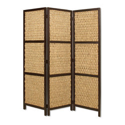 Screen Gems - Screen Gems Braided Rope Screen - Braided Rope 3 Panel Floor Screen is made of sea grass in a woven design and hardwood frame. Finished the same on both sides.