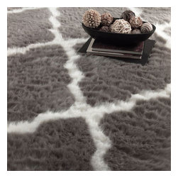 "nuLOOM - Contemporary 7' 6"" x 9' 6"" Grey Machine Made Area Rug Faux Sheepskin Trellis - Made from the finest materials in the world and with the uttermost care, our rugs are a great addition to your home."