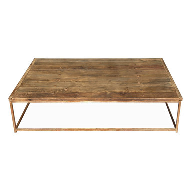 Kathy Kuo Home - Thayer Rustic Lodge Reclaimed Elm Wood Coffee Table - This rustic reclaimed elm wood coffee table invites guests to relax and enjoy the beauty of nature. Inspired by found doors, this iron-based, traditional table is generously proportioned for holding books, snacks, displays and even feet covered in toasty socks.