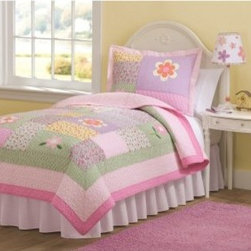 Pem America Dorinda Bedding Set - Brighten up any bedroom in your home with the beautiful Pem America Dorinda Bedding Set. Featuring a brightly colored floral and square pattern in blues greens and pinks this soft quilt adds light and color to your room. Made from soft 100% cotton this quilt features a hypoallergenic polyester fiber filling and is machine washable. Bedding Set Components: Twin: quilt 1 sham Full/Queen: quilt 2 shams Quilt Dimensions: Twin: 86L x 68W inches Full/Queen: 86L x 86W inches About Pem AmericaMakers of high quality handcrafted textiles Pem America Outlet specializes in bedding that enhances your comfort and emphasizes the importance of a good night's rest. Comforters quilts pillows and other items for the bedroom are made with care and craftsmanship by Pem America. Their products cover a wide range of materials styles colors and designs all made with long-lasting quality construction and soft long-wearing materials. Details like fine stitching embroidery and crochet decorations and reinforced seaming make Pem America bedding comfortable and just right for you and your family.