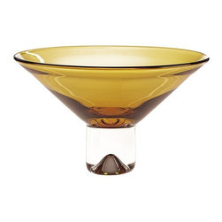 Imported - Monaco Amber European Mouth Blown 12 Inch Bowl - This amber vase is a part of the Monaco Collection.