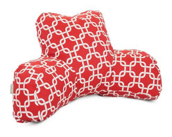 Red Links Reading Pillow - Now you can kick back and relax anywhere with this comfortable and supportive Reading Pillow. The Majestic Home Goods Red Links Reading Pillow provides back and head support that is perfect for many activities such as reading, watching TV or playing video games. Stuffed with a super loft recycled polyester fiber fill, the reading pillows zippered slipcover is woven from poly/cotton twill. Spot clean slipcover with mild detergent and hang dry. Do not wash insert.