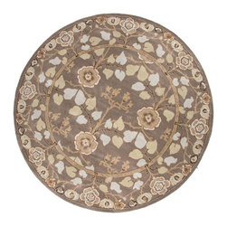 Jaipur Rugs - Jaipur Rugs Hand-Tufted Arts and Craft Wool Gray/Blue Round Area Rug, 8' Round - The Poeme Collection takes traditional designs and re-invents them in a palette of modern, highly livable colors. Each design is made from premiere hand-spun wool and crafted with precision for the look and feel of a hand-knotted rug, at the more affordable cost of a hand-tufted. Poeme will effortlessly coordinate individual design elements to finish any room.