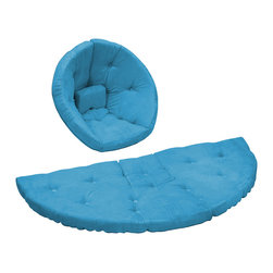 Fresh Futon - Nest Jr. Convertible Futon Chair/Bed, Horizon Blue Mattress - After a long hard day of making mud pies and intensive crayoning retreat snuggly to the Nest by lounger in this folded cone-shaped chair or nap hard on the unfolded mattress, you can even combine two for a wider naps or play surface. Winner of the Best Product Innovation Cup 2009. Available in 9 twill fabric color options.