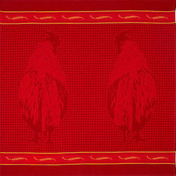 Tea Towel Rooster Red - 8S Rooster Red Tea Towel.  100% Cotton.  Heavy luscious jacquard, woven in Portugal.  Wash in warm water, tumble dry.