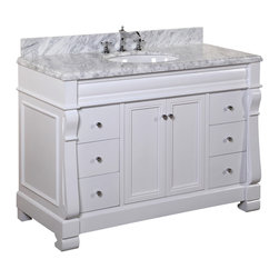 Kitchen Bath Collection - Westminster 48-in Bath Vanity (Carrara/White) - This bathroom vanity set by Kitchen Bath Collection includes a white cabinet with soft close drawers and self-closing door hinges, Carrara marble countertop with stunning beveled edges, single undermount ceramic sink, pop-up drain, and P-trap. Order now and we will include the pictured three-hole faucet and a matching backsplash as a free gift! All vanities come fully assembled by the manufacturer, with countertop & sink pre-installed.