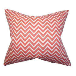The Pillow Collection - Xayabury Pink 18 x 18 Zigzag Throw Pillow - - Pillows have hidden zippers for easy removal and cleaning  - Reversible pillow with same fabric on both sides  - Comes standard with a 5/95 feather blend pillow insert  - All four sides have a clean knife-edge finish  - Pillow insert is 19 x 19 to ensure a tight and generous fit  - Cover and insert made in the USA  - Spot clean and Dry cleaning recommended  - Fill Material: 5/95 down feather blend The Pillow Collection - P18-PP-ZIGZAG-CORAL-C100