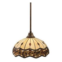 "Toltec - Toltec 26-BRZ-997 Bronze Finish Stem Pendant with 16"" Roman Jewel Tiffany Glass - Toltec 26-BRZ-997 Bronze Finish Stem Pendant with 16"" Roman Jewel Tiffany Glass"