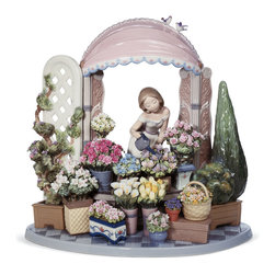 """Lladro Porcelain - Lladro Romantic Feelings Figurine - Plus One Year Accidental Breakage Replacemen - """" A balcony with flowers greets the day with its colours and scents. Hundreds of flowers of different varieties that speak of emotions in their silent language of forms and tonalities. This piece is one of the maximum exponents of the wonderful technique of floral motifs, together with other pieces like the emblematic Flowers of the season or the more recent Flores en Primavera. Around two hundred flowers, including roses, tulips, lilies, violets, carnations, daisies, and gladioli, share centre stage in this composition. Part Of The Lladro Utopia Collecction Hand Made In Valencia Spain - Sculpted By: Joan Coderch - Included with this sculpture is replacement insurance against accidental breakage. The replacement insurance is valid for one year from the date of purchase and covers 100% of the cost to replace this sculpture (shipping not included). However once the sculpture retires or is no longer being made, the breakage coverage ends as the piece can no longer be replaced. """""""