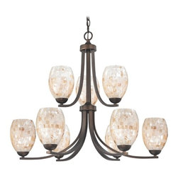 Design Classics Lighting - Bronze Two Tier Chandelier with Mosaic Glass and Oblong Shades - 586-220 GL1034 - Country / cottage neuvelle bronze 9-light chandelier. Takes (9) 100-watt incandescent A19 bulb(s). Bulb(s) sold separately. UL listed. Dry location rated.