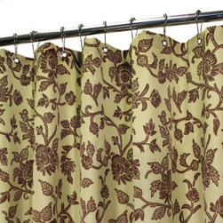Watershed Floral Swirl Shower Curtain - Elegance lives in the Park B Smith Floral Swirl Shower Curtain. This beauty comes in a variety of tasteful color options, all with a stylish floral design. It's made of quick-drying, machine-washable polyester fabric that requires no inner liner, is mold and allergy resistant, has small grommets for easy hanging, and includes weights at the bottom to keep it in place.