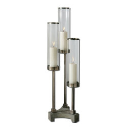 Carolyn Kinder - Carolyn Kinder Risto Candlestick/Candle Holder X-22791 - Brushed aluminum accents with clear glass globes and concrete base. Distressed beige candles included.