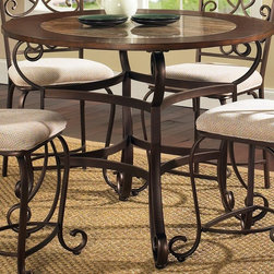 Steve Silver Co. - Callistro Counter Height Scroll Table in Bron - Includes: Table top & Base. Decorative metal scroll work base. Wood framed table top with a faux marble inlay. Traditional style. Sturdy gauge metal construction. Select hardwood solids material. Some assembly required. 45 in. L x 45 in. W x 36 in. H (91.5 lbs.)