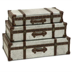 "Imax Worldwide Home - Theodric Galvanized Trunks - Set of 3 - Galvanized metal trunks make a great storage option and add an industrial style that looks great with a variety of decor.; Country of Origin: China; Weight: 33 lbs; Dimensions: 5-6.25-7.75""h x 22.5-25-27.25""w x 11-13-15.5""d"