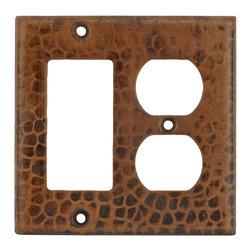 Premier Copper Products - 2 Hole Outlet & Ground Fault/Rocker GFI Cover - Copper Combination Switchplate, 2 Hole Outlet and Ground Fault/Rocker GFI Cover