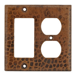 Premier Copper Products - 2 Hole Outlet & Ground Fault/Rocker GFI Cover - Copper Combination Switchplate, 2 Hole Outlet and Ground Fault/Rocker GFI Cover