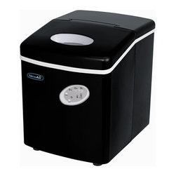 New Air - Portable Ice Maker - Black - Makes 28 lbs. of ice per day. Convenient side drain. Push button controls. 6-15 minute production time. 9 pieces of ice per cycle. Removable ice bin. Ice scooper. Full ice basket indicator. . 15 in. L x 12 in. W x 15 in. H (24.3 lbs)For parties and special occasions, rely on the NewAir AI-100BK portable ice maker to provide all the extra ice you need. Get up to 28 pounds of ice per day from one sleek countertop unit, with your choice of three ice cube sizes.