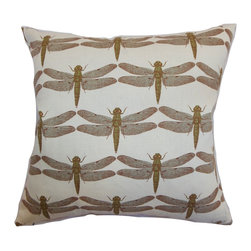 "The Pillow Collection - Nkan Dragonfly Pillow Aqua 18"" x 18"" - Liven up your space with this eclectic throw pillow. This decor pillow comes with an unconventional dragonfly print pattern in aqua, brown and natural hue. This lovely pattern on this accent pillow adds dimension and style to your living room or bedroom. You can pair this 18"" pillow with bright solids for a pretty contrast. This down-filled pillow is made from a blend of 95% cotton and 5% linen fabric. Hidden zipper closure for easy cover removal.  Knife edge finish on all four sides.  Reversible pillow with the same fabric on the back side.  Spot cleaning suggested."
