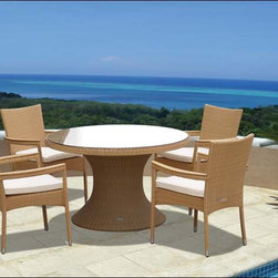 """Fifthroom - 48"""" Honey Wicker Dining Table and Wicker Stacking Chair Set -"""