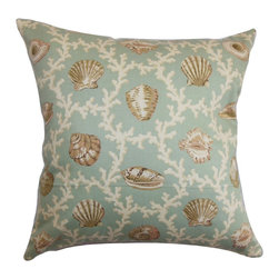 "The Pillow Collection - Baul Nautical Pillow Blue - This nautical-inspired decor pillow is constructed with 100% soft cotton material. The square pillow depicts a lovely sea-themed scene with corals and shells. The muted blue color blends well with the neutral-hued pattern. Make this 18"" pillow the statement piece of your sofa, bed or sectionals. Incorporate other coastal theme accent pillows from our collection. Hidden zipper closure for easy cover removal.  Knife edge finish on all four sides.  Reversible pillow with the same fabric on the back side.  Spot cleaning suggested."
