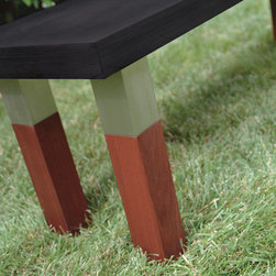 Kenji Outdoor Bench - The bold Kenji Collection bench from Modern Outdoor combines Red Balau and brushed stainless steel with a paper-based composite.