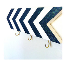 Chevrons Wall Hook, Navy Blue by One-Eyed Dog - This chevron wall hook is a nice bold piece. I love the shape.