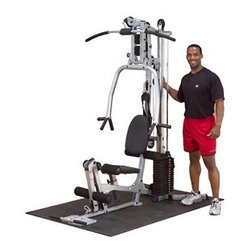Powerline Home Gym - Compact easy-to-assemble machine for convenient in-home workoutsCapable of performing more than 40 different exercisesChoose optional leg press for even more workout options and variationsDurable 11-gauge steel frame with tough electrostatically applied powder-coated finishBiomechanically designed traditional press bar offers maximum chest concentration and outstanding muscle developmentLat pulldown station ensures a full range of motion with unilateral bilateral converging and diverging movement capabilityFeatures a 160-lb. selectorized weight stackChrome-plated telescoping seat post is easy to adjust and provides proper body positioningUtilizes 2 200-pound tension strength steel aircraft cables with swiveling ends that are both durable and low-maintenanceImpact-resistant fiberglass-reinforced nylon is paired with precision-made steel ball bearings for a smooth workoutFeatures high mid and low pulleys and an 8-position adjustable press arm and leg developer stationComes complete with a 48-inch lat bar low row bar and abdominal harnessAssembled dimensions: 70L x 42W x 80H inchesTotal product weight: 344 poundsPlease note that some assembly is required; gym arrives 90% pre-assembledManufacturer's warranty included - see Product Guarantee area for complete detailsAbout Body SolidBody Solid has been making high-quality strength training and exercise equipment for over 20 years. Designed for today's workouts Body Solid machines feature innovative technology and distinctive styling that suits your home. Body Solid equipment meets the challenges of today's busy lifestyle while providing you with the utmost in advanced home exercise. From space-saving designs that suit any room to full-sized gym systems with every available station Body Solid gives you the features you want at a price you can afford. All components of all machines are covered by a lifetime manufacturer's warranty; something you won't find from any other manufacturer in the industry.